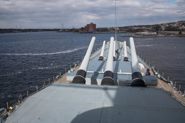 On the deck just above the tops of the main gun turrets....