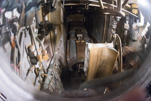 A view of the breech of the starboard 16 inch gun in the...