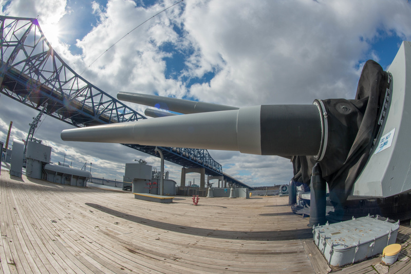 Two of the rear 16 inch guns are trained on the bridge.