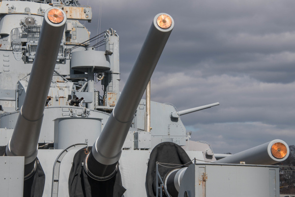 Rear 16 inch guns on the USS Massachusetts. by Willis...