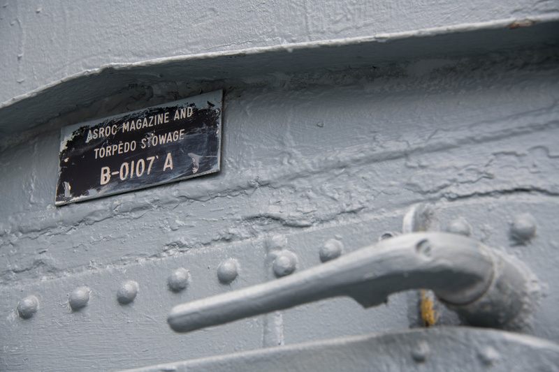 Details on a hatch near the hangar and ASROC launcher.
