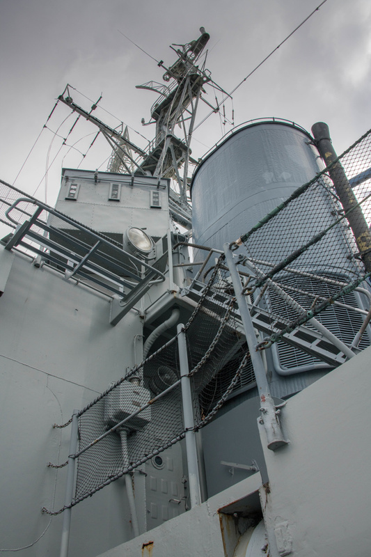 Back on the main deck of the Joe Kennedy, looking up at the forward smokestack and mainmast.