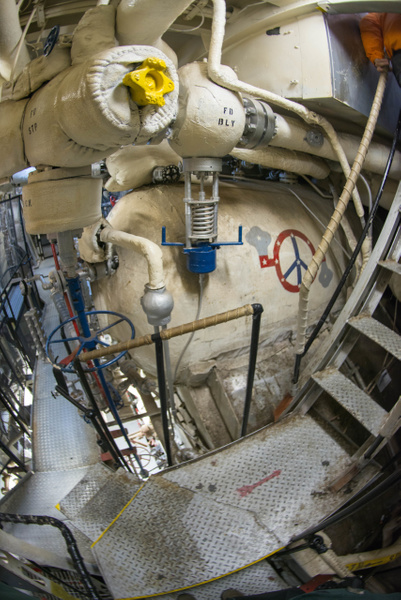 Side view of one of the boilers aboard the Joe Kennedy....