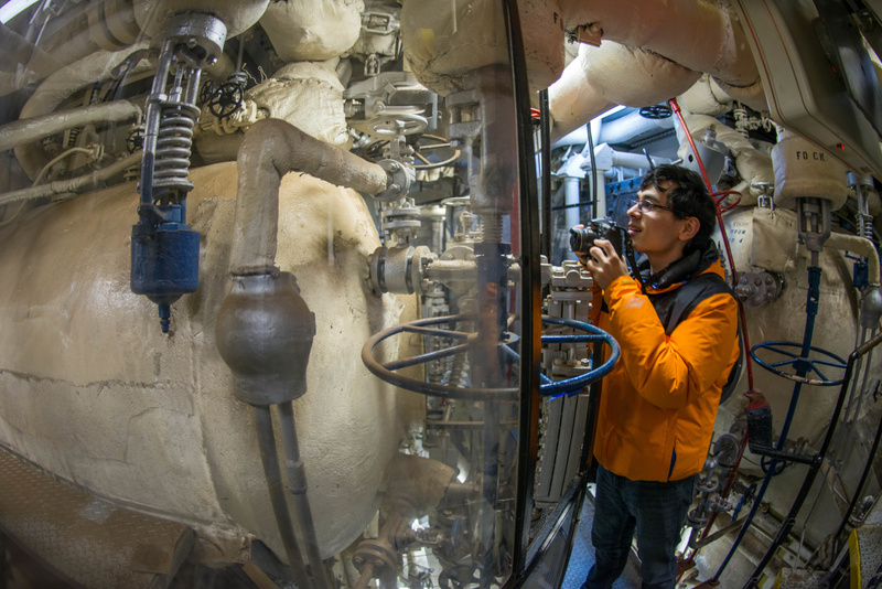 Ben getting some wide angle photos of the boiler.