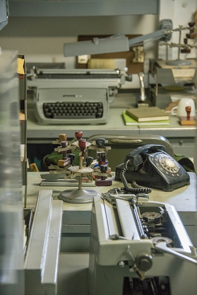 Other older typewriters in the ship's office. by Willis...