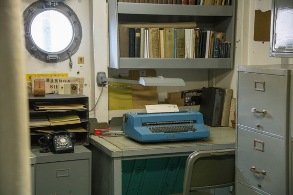 Ship's office, with period telephone and IBM Selectric...