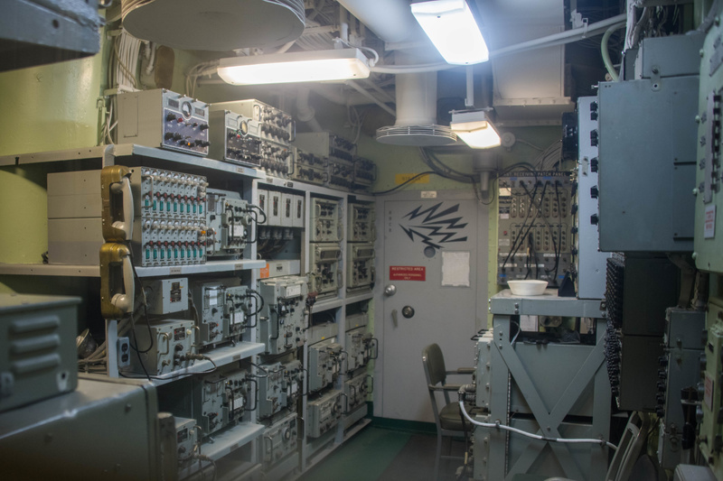 An electrical control room aboard the USS Joseph P. Kennedy