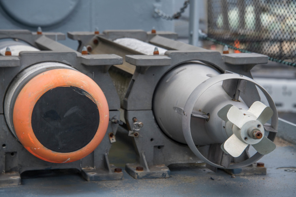 A pair of MK46 ASW torpedoes aboard the Joe Kennedy. by...