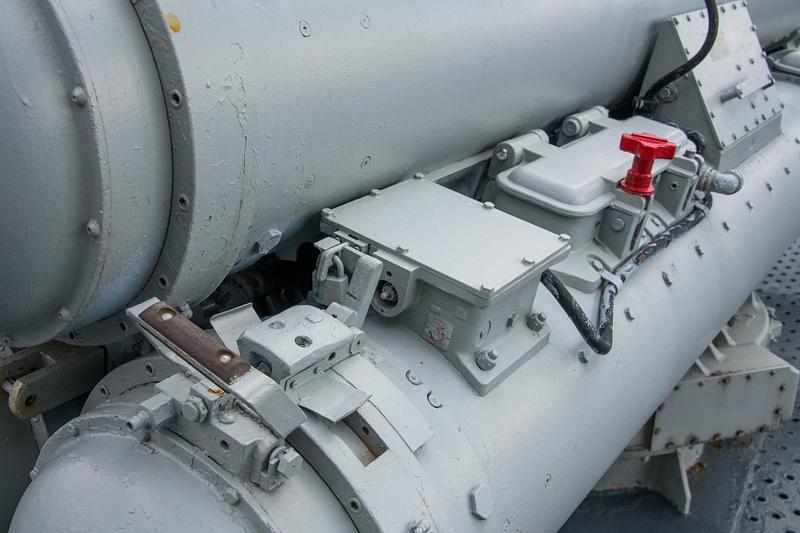 Electronics box details on the MK 32 triple torpedo tube launcher.