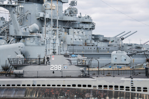 Looking past the USS Lionfish to the USS Massachusetts....