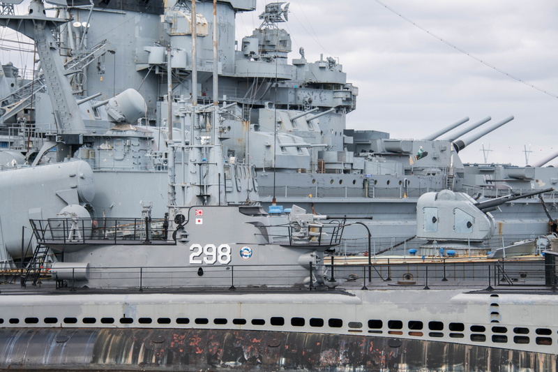Looking past the USS Lionfish to the USS Massachusetts.
