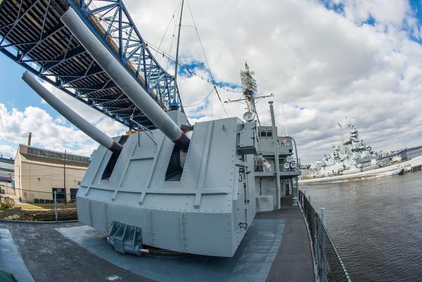 Forward 5 inch turret on the Joe Kennedy with the bridge...