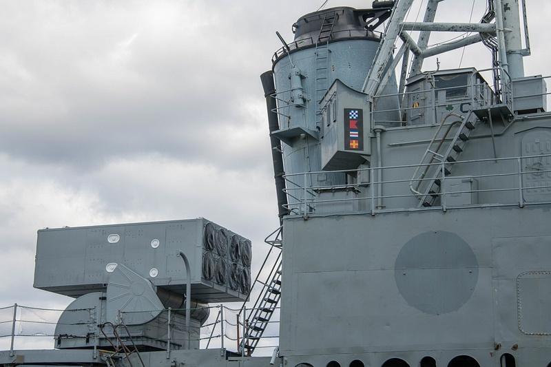Midship mounted RUR-5 ASROC launcher.