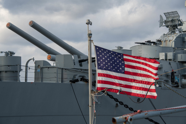 Rear deck of the USS Massachusetts. by Willis Chung