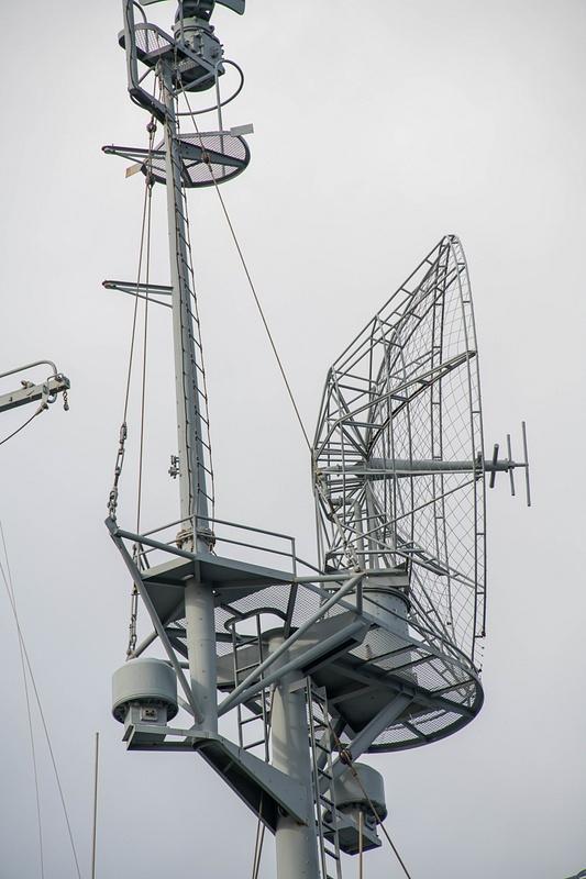 SK-2 with 17ft dish antenna for long range radar detection of aircraft, USS Massachusetts.