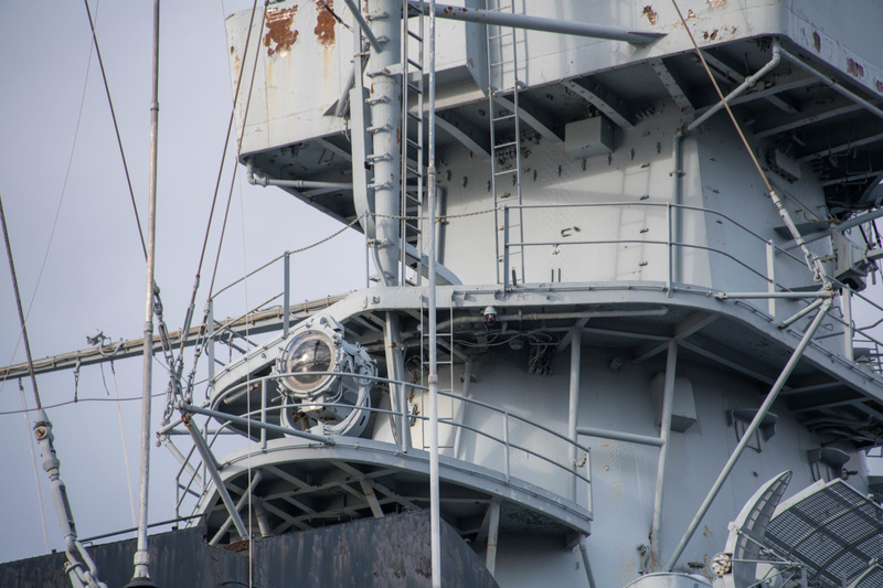 Searchlight on the rear superstructure of the USS Massachusetts.