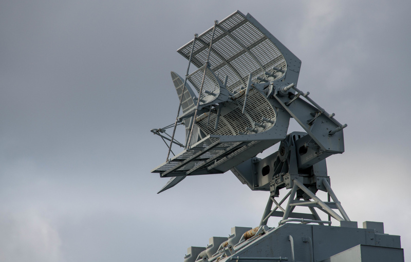 Mark 12 radar with smaller Mark 22 height finding radar on the rear superstructure of the BB-59