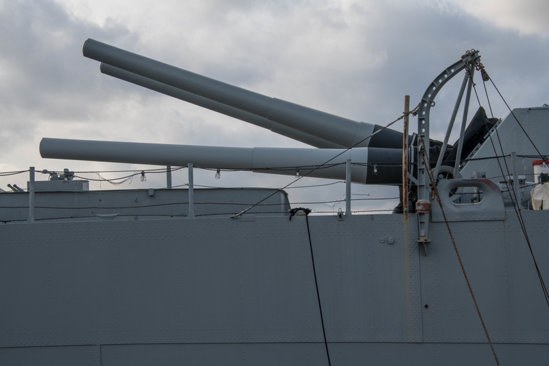 Triple 16 inch main guns in the single rear turret on the USS Massachusetts.