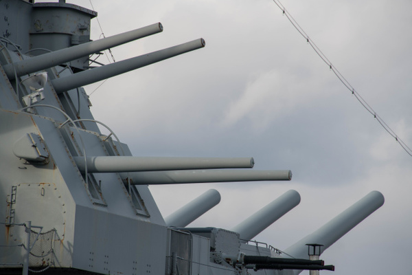 Second forward turret with 16 inch main guns behind the...