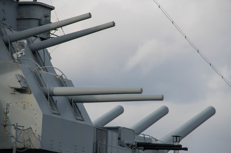 Second forward turret with 16 inch main guns behind the 5 inch gun turrets.