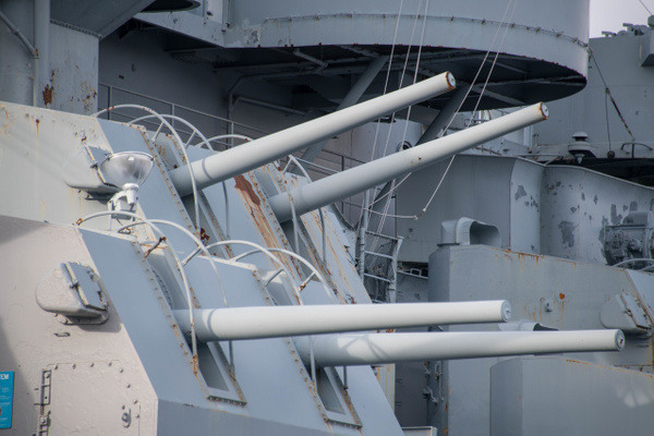 Closer views of the 5 inch turrets on the starboard side...