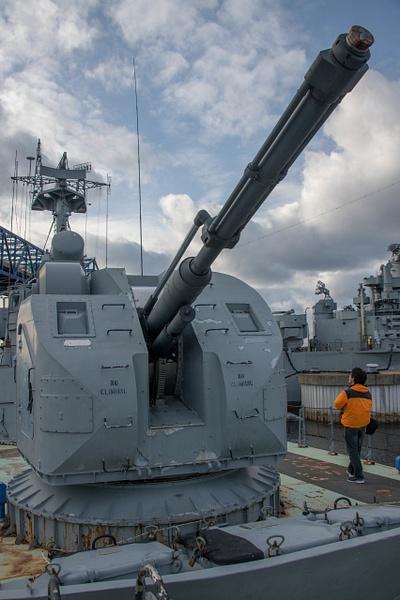 The turret for the 76 mm AK-176 dual purpose main gun....