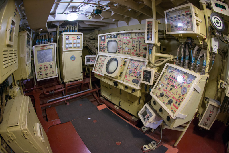 View of the port side of the weapons control room.
