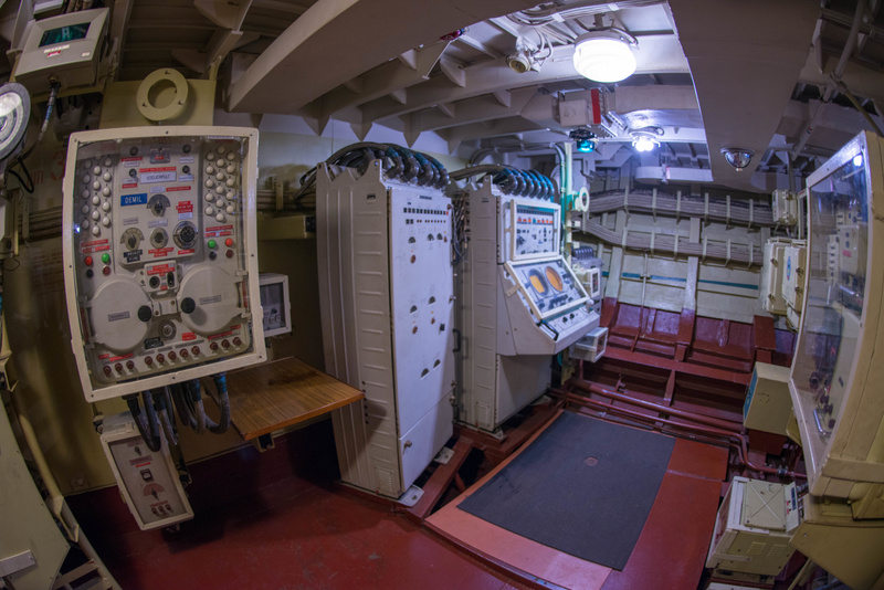View of the starboard side of the weapons control room.