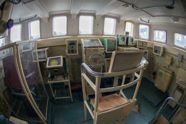 Bridge on the Hiddensee.  The helmsman's chair does not...