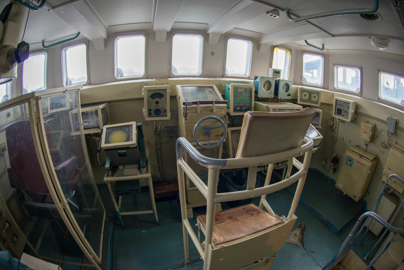 Bridge on the Hiddensee.  The helmsman's chair does not look very comfortable.