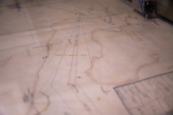Chart on plotting table aboard the Hiddensee. by Willis...