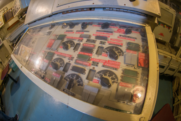Launch control panel for the Styx missiles aboard the...