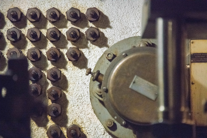Complicated array of connectors (pass throughs?) on the aft bulkhead in the aft torpedo room.