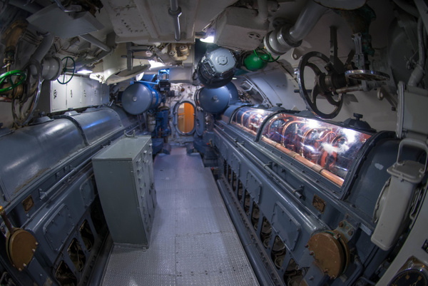Engine room aboard the USS Lionfish. by Willis Chung