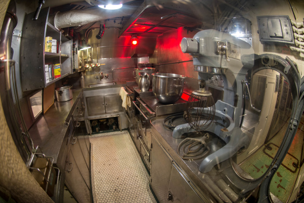 Small galley to feed all the men aboard the USS...