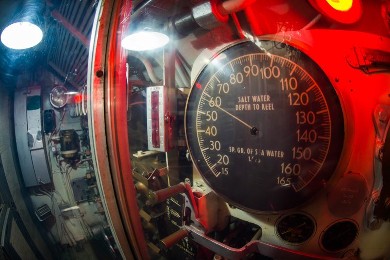 Depth gauge in the control room aboard the USS Lionfish.