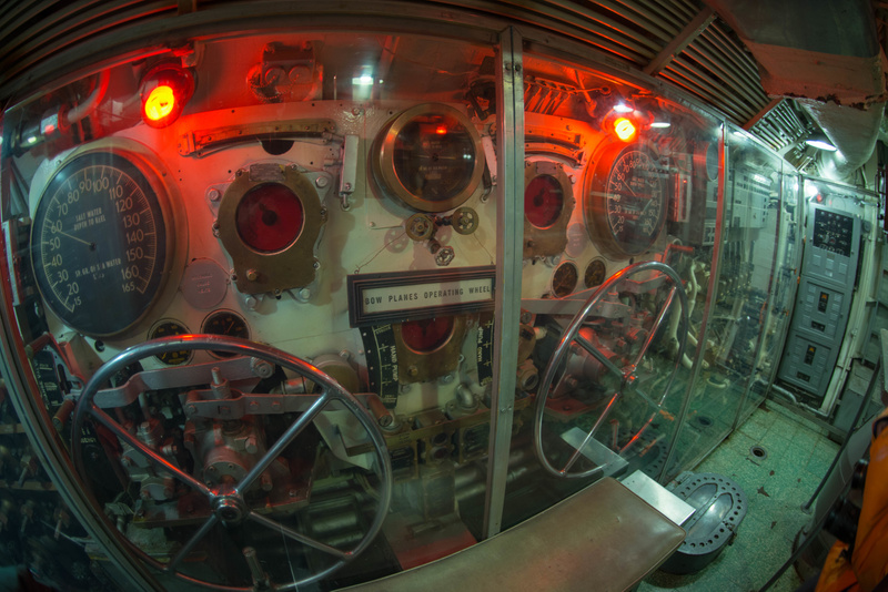 Dive plane controls in the USS Lionfish.