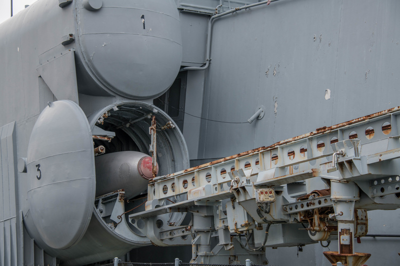 The front hatch on launcher 3 on the Hiddensee is opened and the launch rail is in position.
