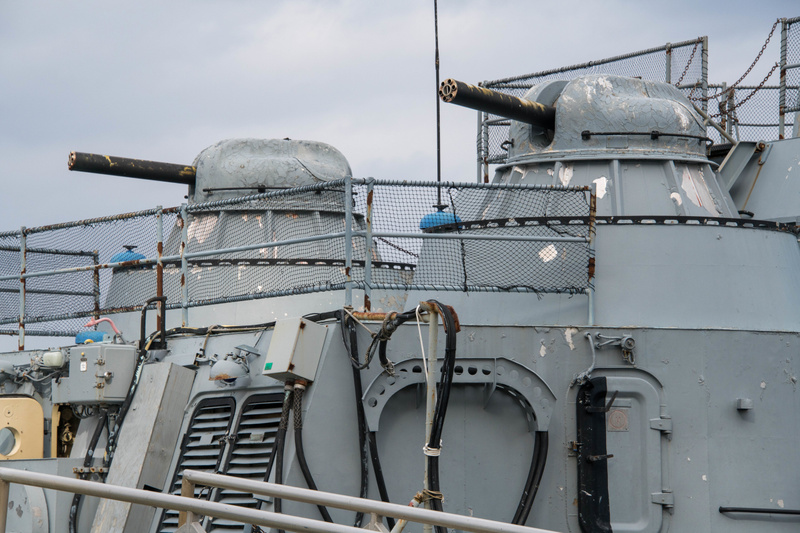 Looking at the stern of the Hiddensee, former East German frigate, originally in Soviet service.