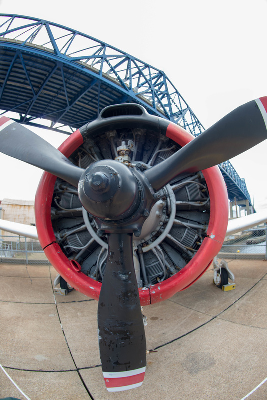 T-28 trainer up close with superwide lens