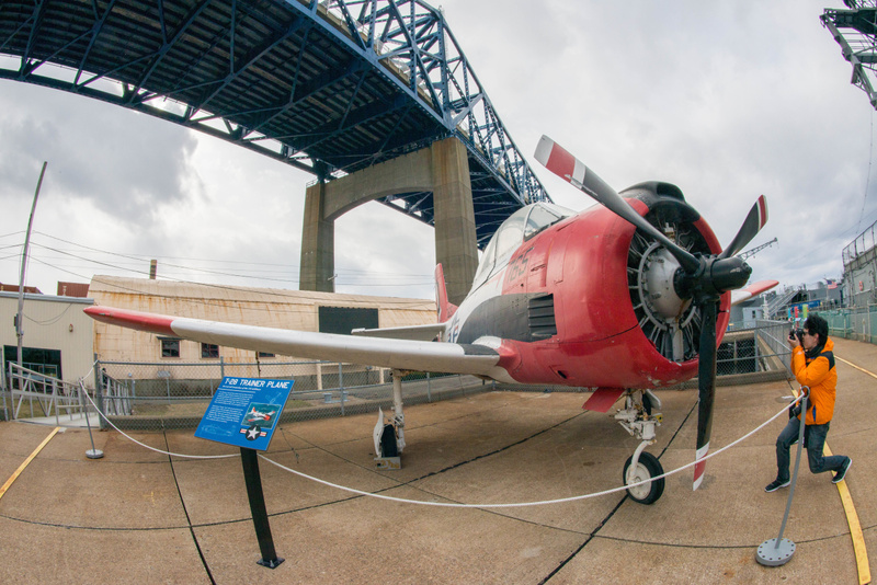 T-28 Trojan basic trainer, used by all services beginning in the 1950s. Ben uses his superwide lens.
