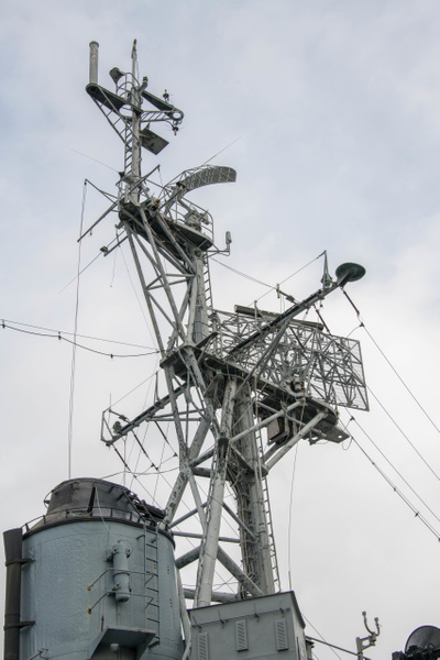 AN/SPS-10 C-Band surface search radar at the top of the...