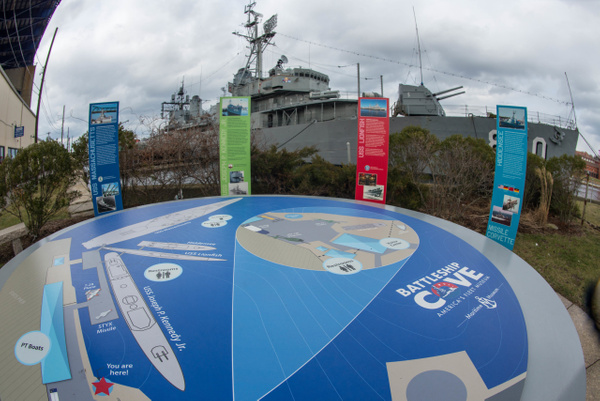 Map showing the vessels on display at Battleship Cove....