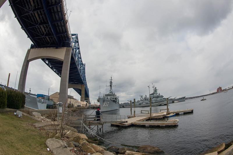 Battleship Cove is under the Charles M. Braga, Jr Memorial Bridge.