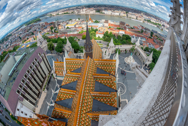 Matthias Church with the Danube and the Hungarian Parliament Building,  taken from the steeple