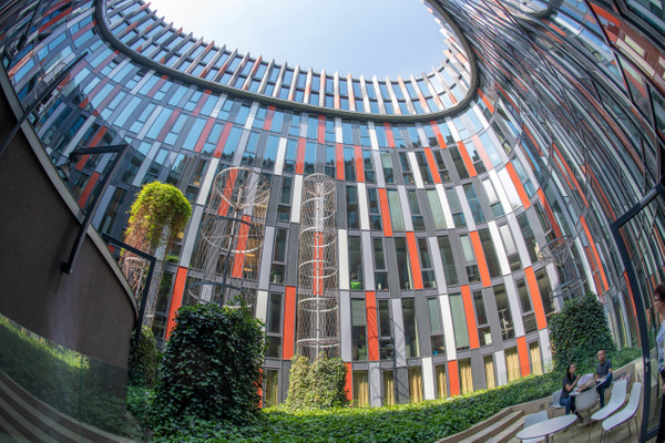 Courtyard of the Main Point Karlín, superwide by Willis...
