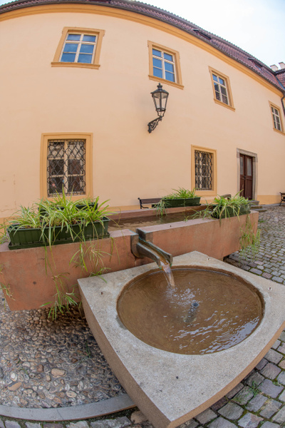 Fountain in the courtyard of the Libeň Chateau by...