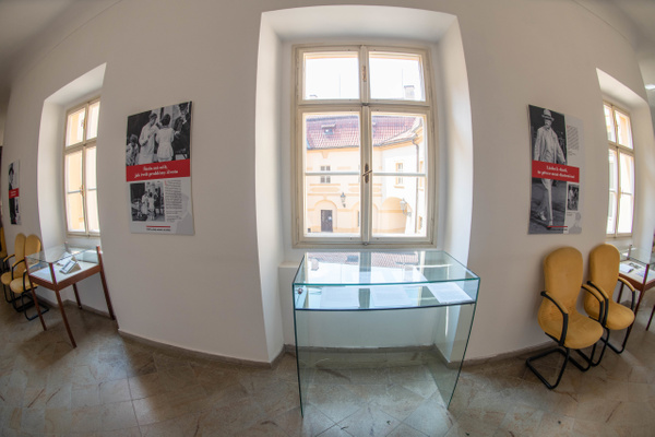 A museum display on the second floor of the Libeň...