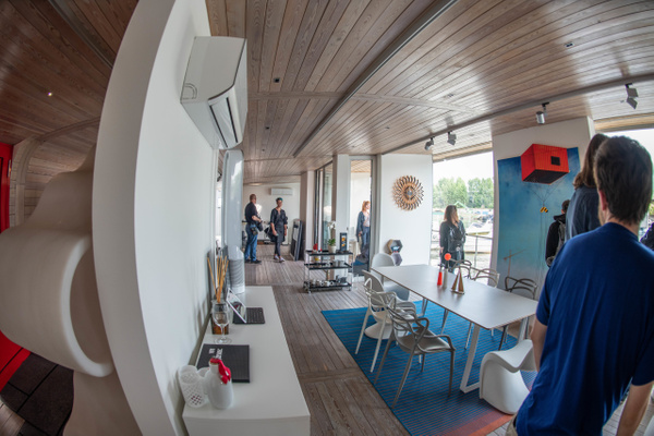 Inside the dining room, views of the river. by Willis...
