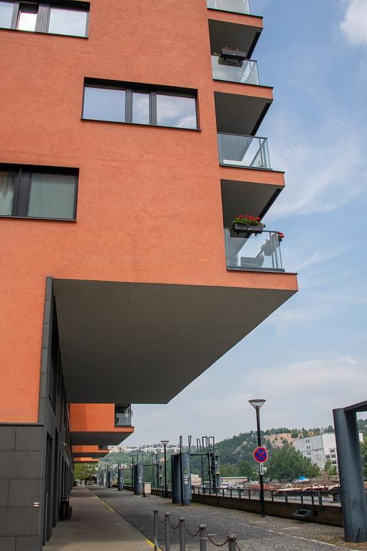2 V Přístavu, apartment buildings along the marina along the west bank of the Vltava River.
